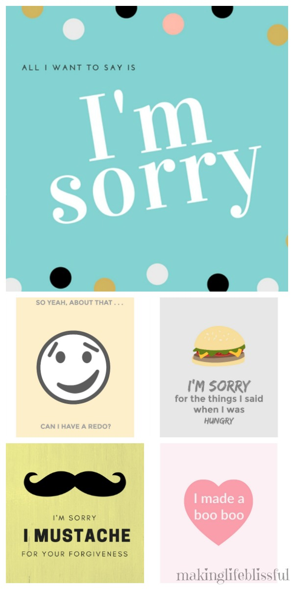 Making Life Blissful  Free Printable Apology Cards