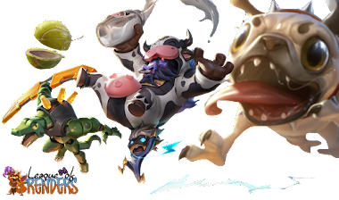 render Moo Cow Alistar, Pug'Maw, Super Kennen y Super Kennen