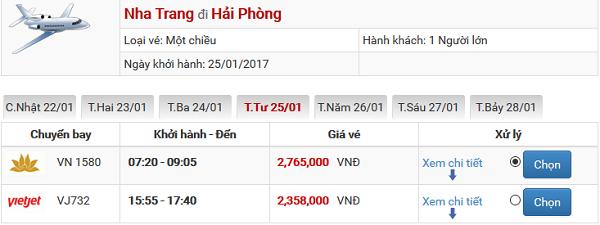Vé máy bay tết Nha Trang đi Hải Phòng 2018