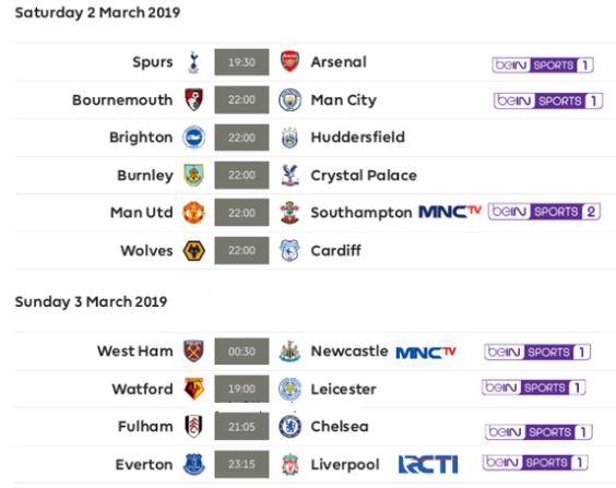 Jadwal Liga Inggris Pekan 29 Sabtu-Minggu 2-3 Maret 2019. Siaran Langsung RCTI & MNCTV