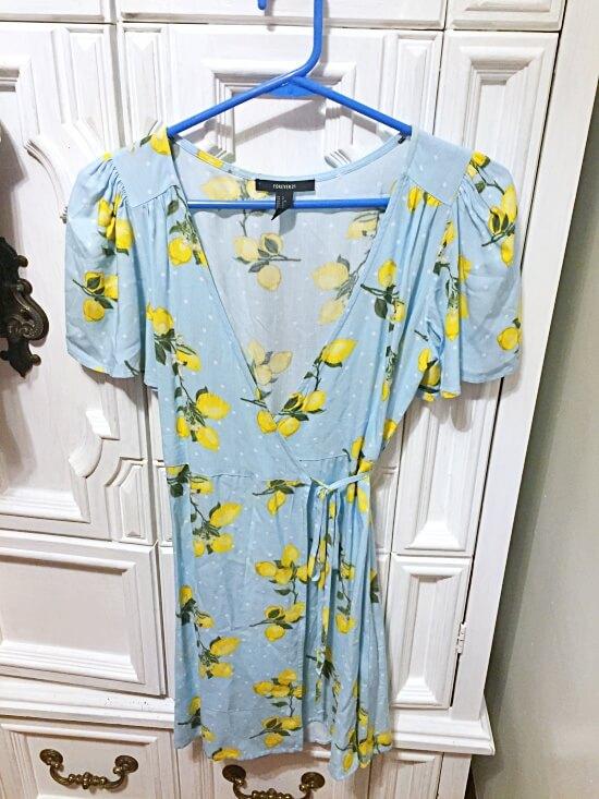 Forever 21 lemon wrap dress