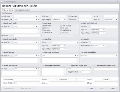 Tờ khai xuất khẩu phần mềm vận chuyển Logistics