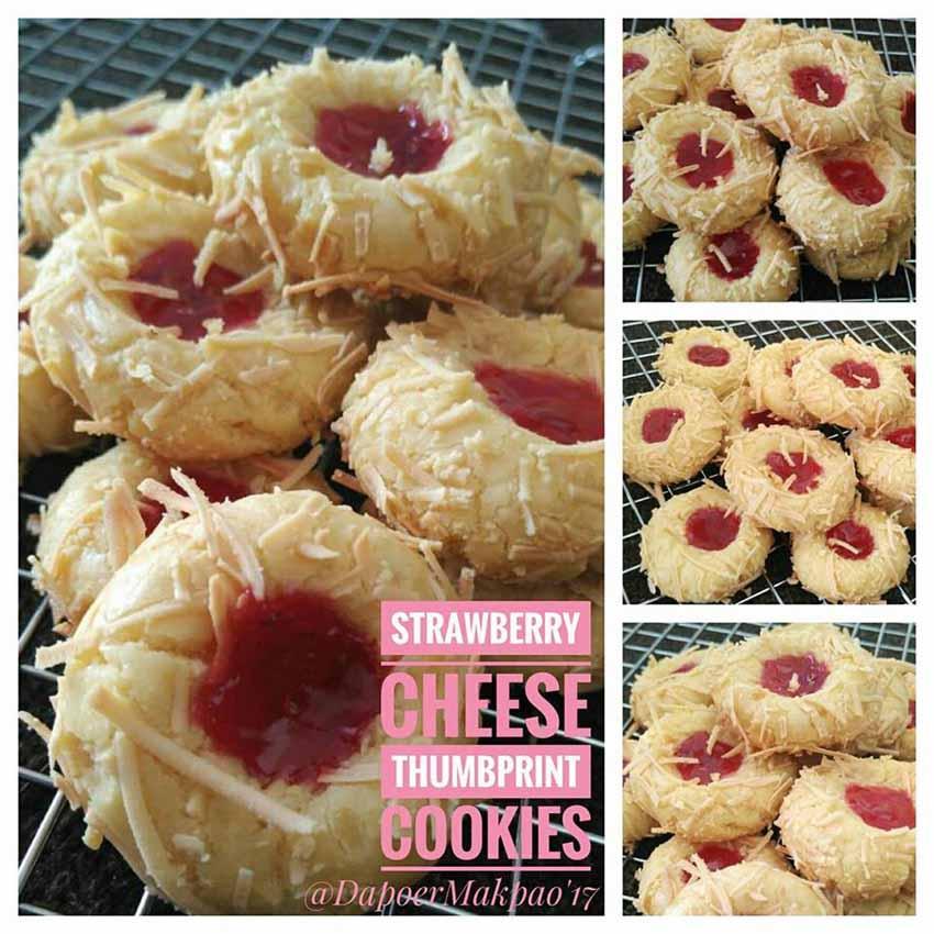 Resep Membuat Kue Strawberry Cheese Thumbprint. Cookiesnya Kriuk Kriuk Manis dan Gurih by Bunda Pao