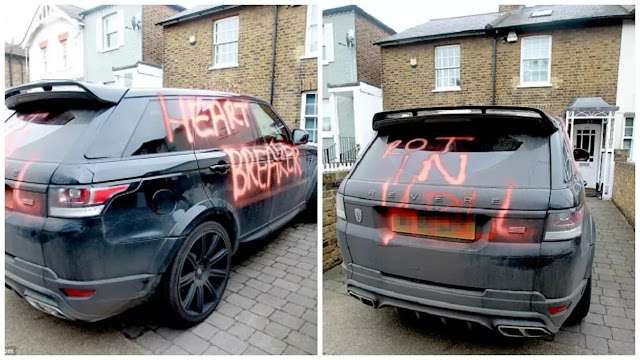 Irate lover defaces Range Rover