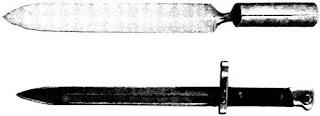 Плоский штык конца XIX века иего предшественник— штык начала XVIII столетия