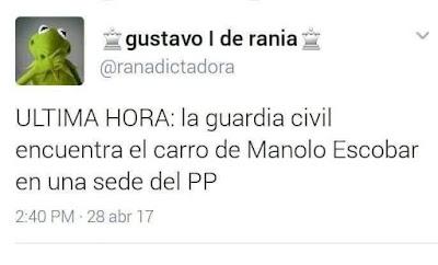 Última hora,la guardia civil encuentra el carro de Manolo Escobar en una sede del PP