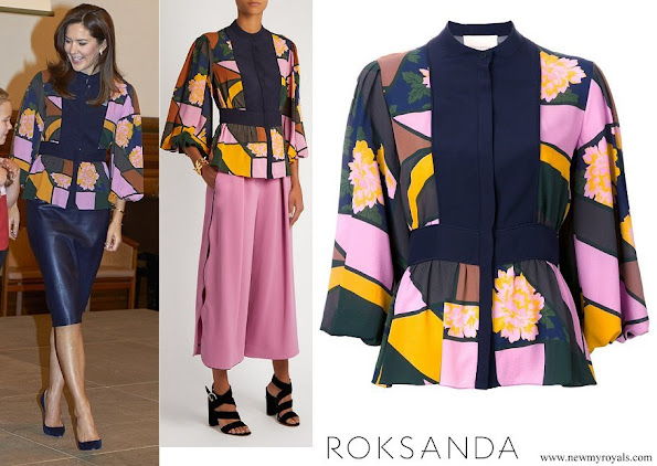 Crown Princess Mary wore Roksanda Ilincic Floral print Silk chiffon Blouse