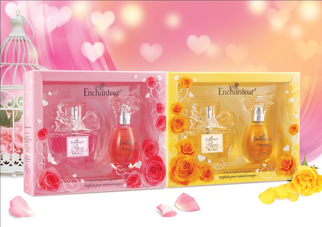 kiri: SET HADIAH MINI ENCHANTEUR (BELLE AMOUR & ROMANTIC) kanan: SET HADIAH MINI ENCHANTEUR (MON AMIE AND CHARMING)
