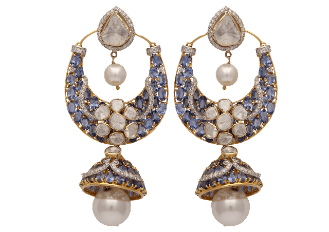 Chandbali curated in 18 K gold and studded with uncut diamonds and blue sapphire and pearl by Tanya Rastogi for Lala Jugal Kishore Jewellers