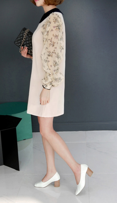 Contrast Collar Floral Sleeve Shift Dress
