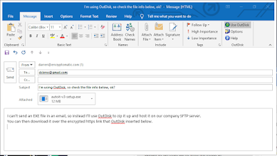 Outlook new email Message window.