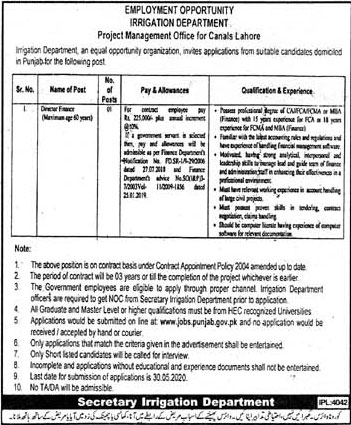 Irrigation Department Govt Of Punjab Jobs May 2020