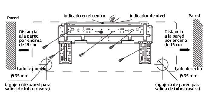 Instalaciones eléctricas residenciales - Soporte de la unidad interior de un equipo de aire acondicionado