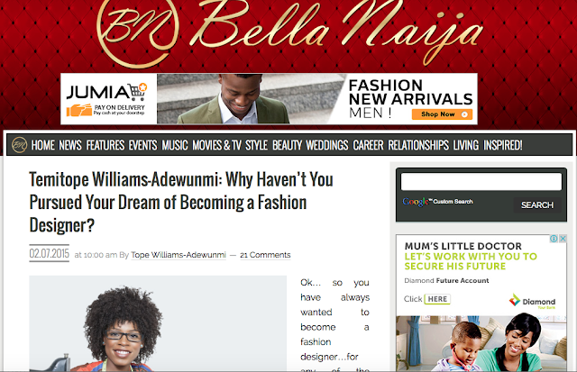 Why Haven't You Pursued Your Dream of Becoming a Fashion Designer? Bella Naija Article 1