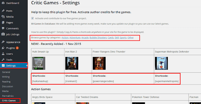 WordPress Games player