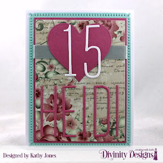 Divinity Designs Custom Dies: Long & Lean Numbers, Long & Lean Letters, Snowflake Sky, Rectangles, Festive Favors (heart), Paper Collection: Romantic Roses