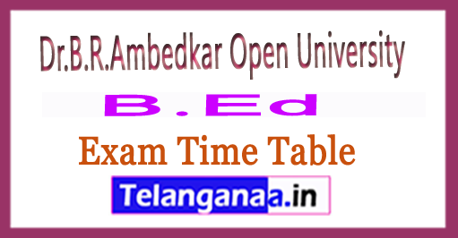 BRAOU B.Ed (SE) 1st Sem Time Table 2018 Dr.B.R.Ambedkar Open University