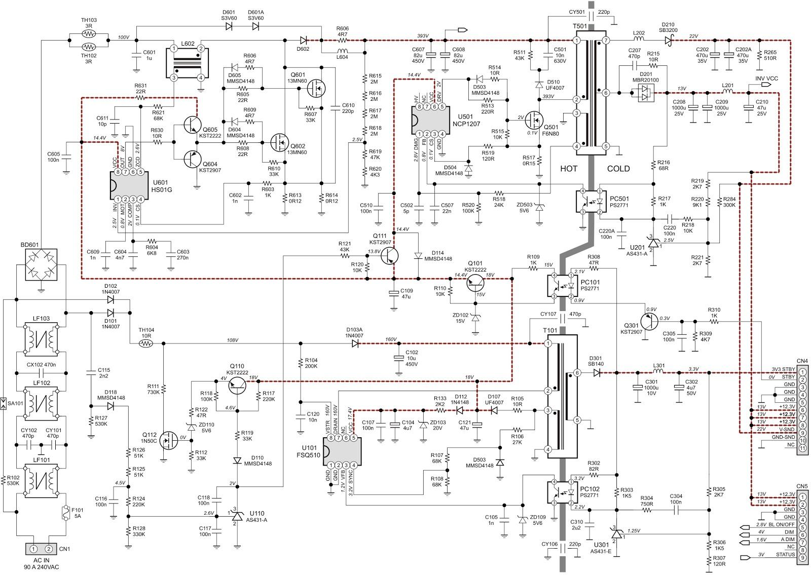Philips 40PFL3606 Power Supply Inverter Schematic  40