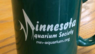 Mug with logo on the side that says innesota quarium Society with a weird shape off to the left