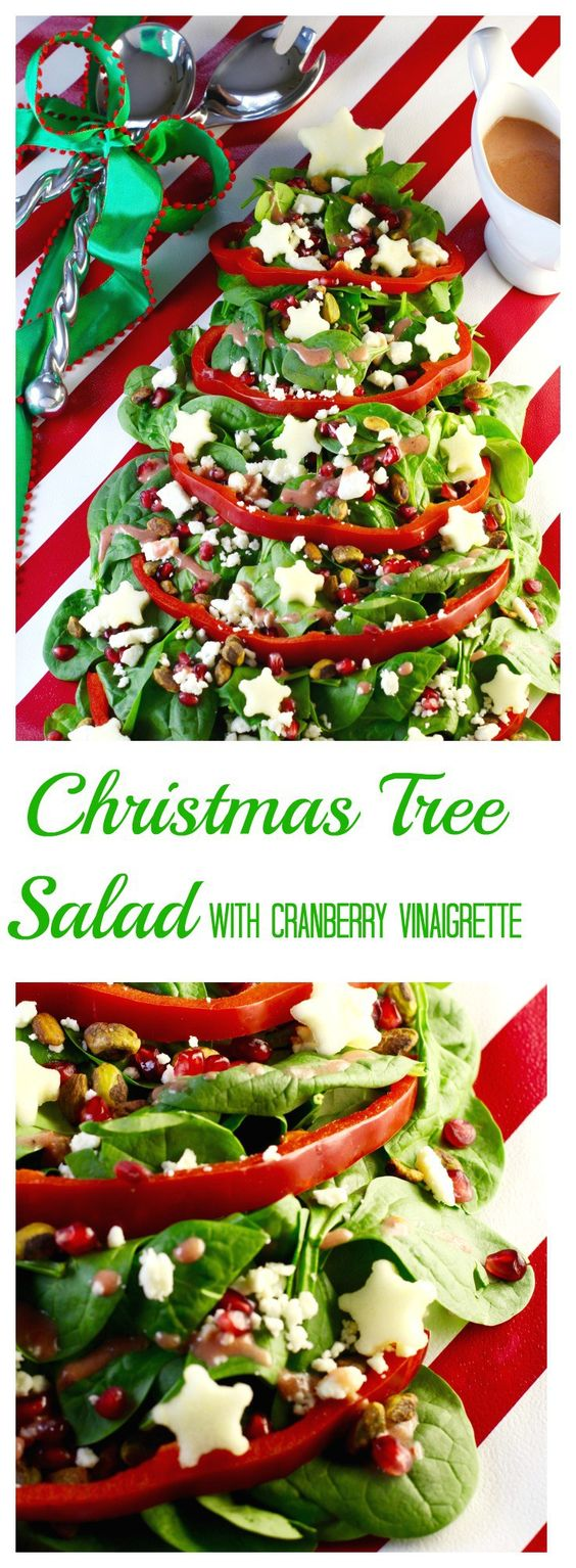 CHRISTMAS TREE SALAD (CHRISTMAS SALAD) + CRANBERRY VINAIGRETTE