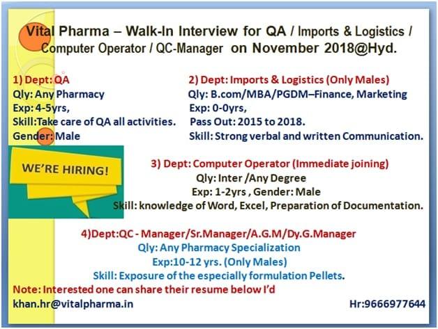 Vital Pharma Urgent Walk In Interview For QA, QC