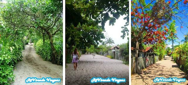 Ruas de areia em Caraíva