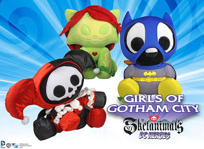 DC Heroes Skelanimals Girls of Gotham Series 3 Plush Figures by Toynami - Quacky as Batgirl, Foxy as Poison Ivy & Marcy the Monkey as Harley Quinn