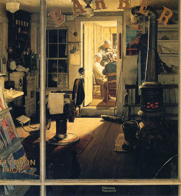 Norman Rockwell Painting - Shuffleton's Barbershop - 1950