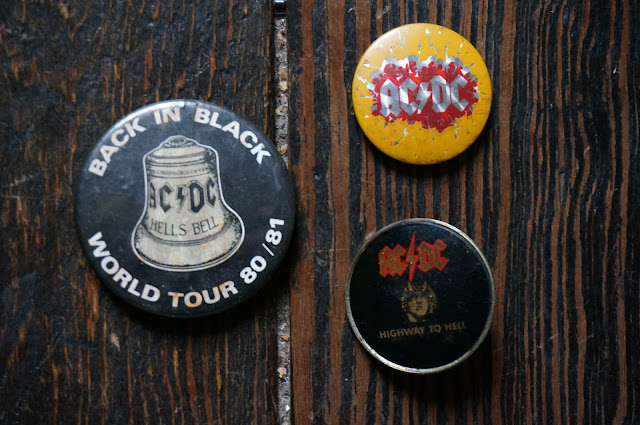 vintage 80s acdc badge pinback button AC/DC