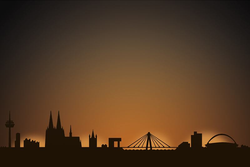 Cologne city skyline candle holder