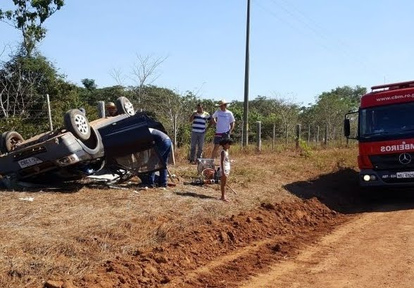 Mãe e filha se envolvem em acidente grave com capotamento na RO 010