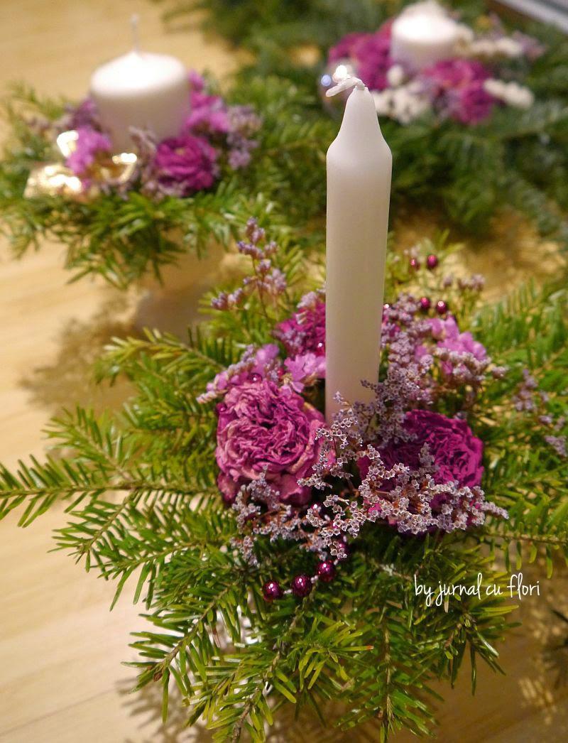 aranjamente de Craciun cu lumanare si flori