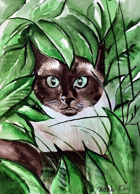 Peek a Boo Siamese Cat painting by Dora Hathazi Mendes