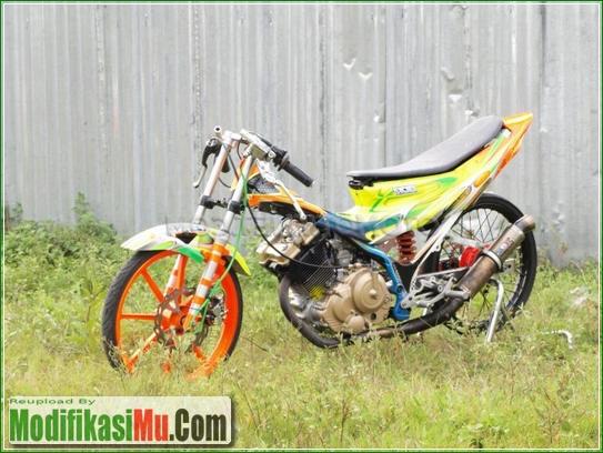 Stang Jepit Velg Racing - Video Cara Modifikasi Suzuki Satria F150 250cc 2555cc Drag Bike Racing Look Kolor Ijo Tercepat Untuk Harian