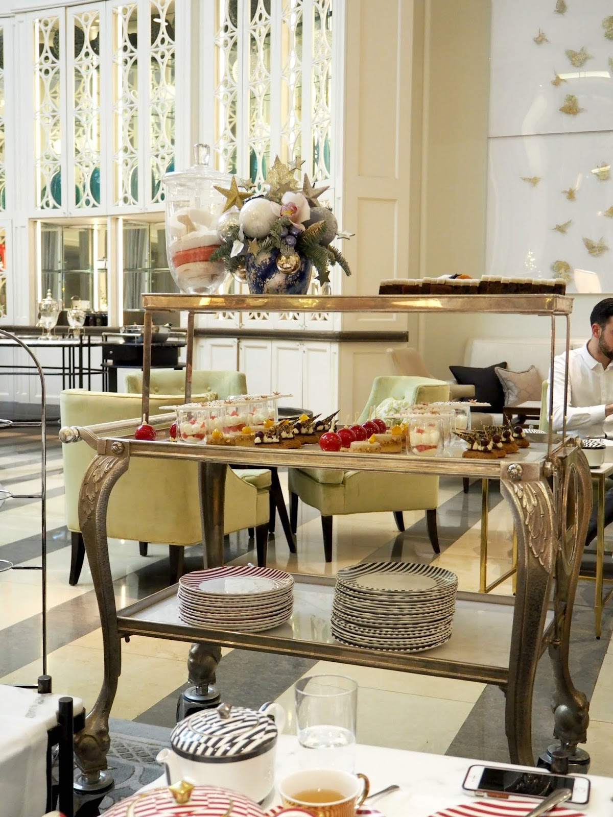 silver trolley serving afternoon tea cakes