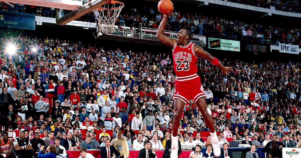 50 year old Michael Jordan dunks at his basketball camp while wearing jeans   aa770a38b495