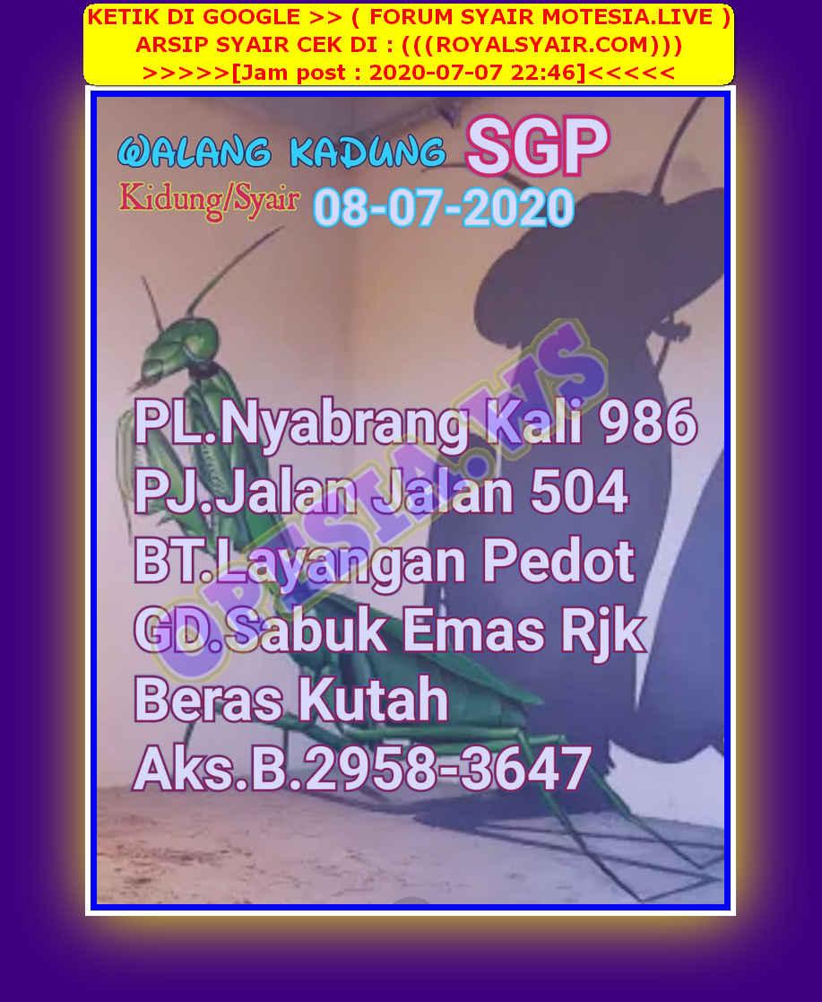 Kode syair Singapore Rabu 8 Juli 2020 57