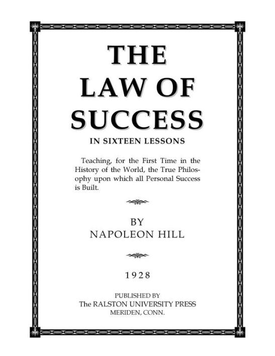 Law of Success PDF Book By Napoleon Hill