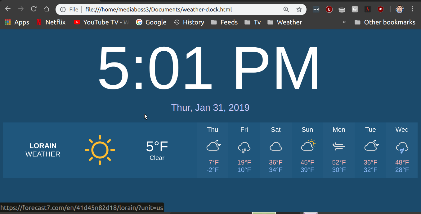 Pimping The Penguin: Weather Clock HTML