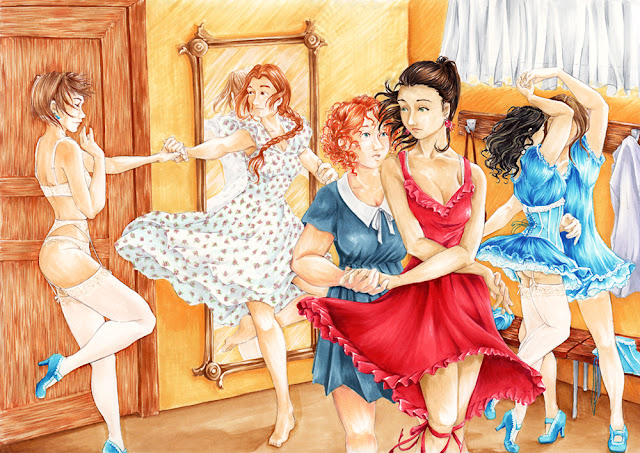 Danse entre filles - illustration au copic