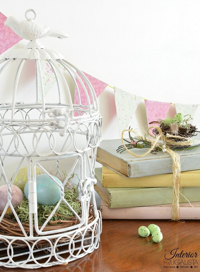 DIY Decorative Books Spring Vignette