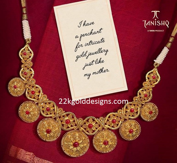 Tanishq Traditional Antique Gold Necklace - 22kGoldDesigns