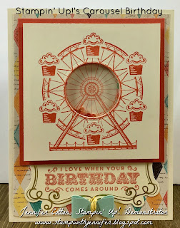 This shaker birthday card uses Stampin' Up!'s Carousel Birthday stamp set.  It also uses: Cupcakes & Carousels Designer Paper, Cupcakes & Carousels Embellishment Kit, Layering Circles Framelits, Window Sheets, and Foam Adhesive Strips!  #staminup #stamptherapist www.stampwithjennifer.blogspot.com