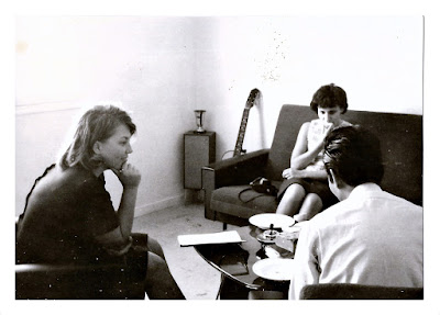Photo of Lena and Carole in Europe in 1965, chilling in the dorms at the University of Bordeaux with some nice Vietnamese boys.