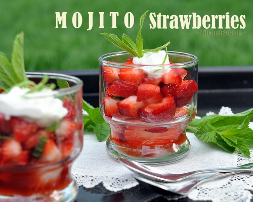 Mojito Strawberries ♥ KitchenParade.com, inspired by the Cuban cocktail called the mojito, quick and simple, virgin or not.