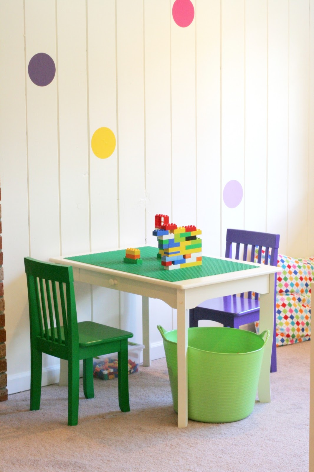 kidkraft table and chairs high wing back playroom design: diy with rock wall