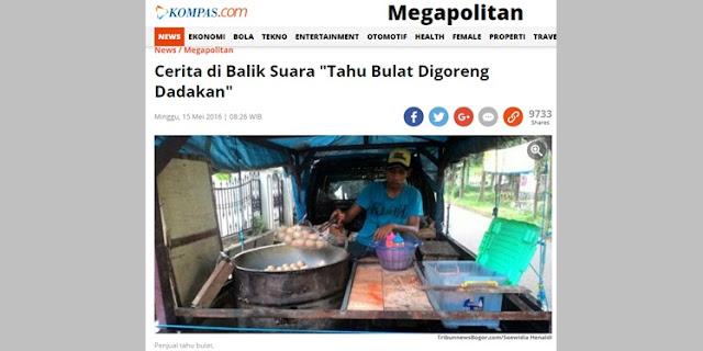 Berita Kompas tentang Penjual Tahu Bulat