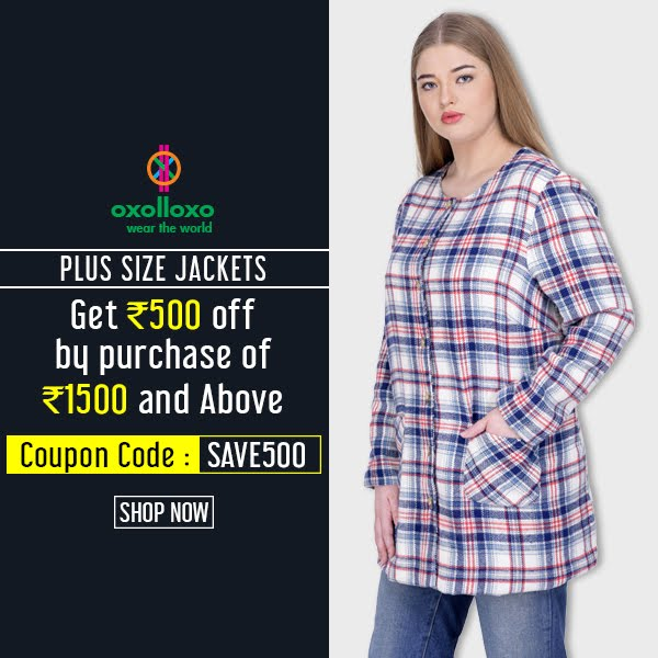 Plus Size Check Jacket at Oxolloxo