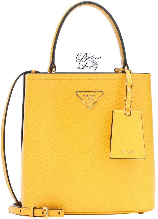Brilliant Luxury♦Prada double medium leather tote in yellow