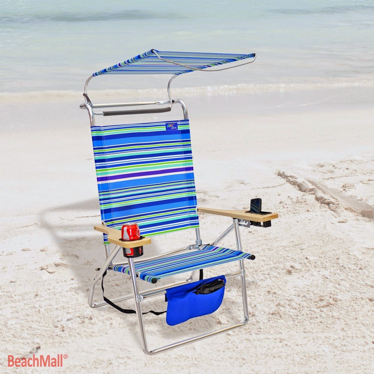 Beach chair with canopy - Deluxe 4 Position Aluminum Beach Chairs With Canopy